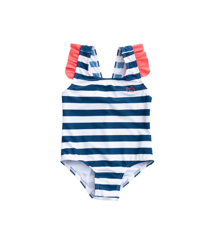 Bow Back Striped Swimsuit