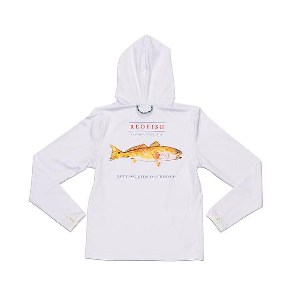 Hooded Long Sleeve Redfish Performance Tee - White