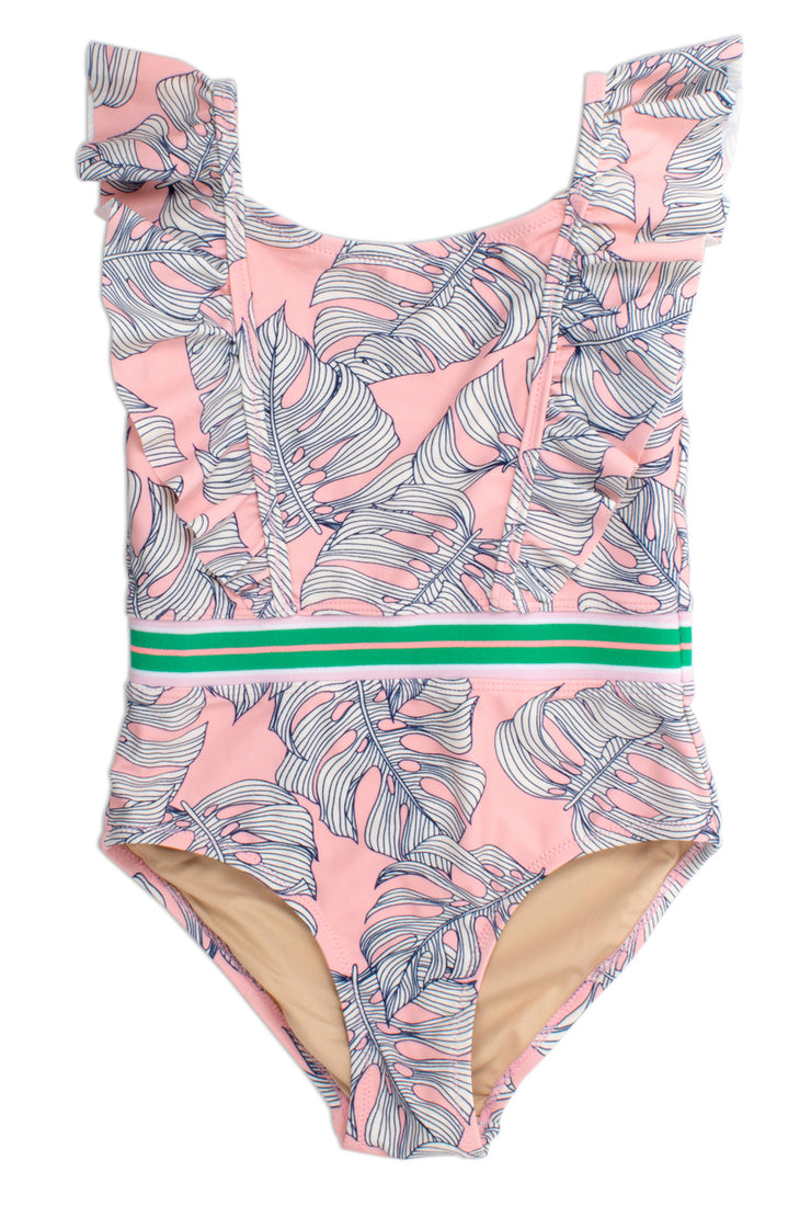 Pink Monstera One Piece Ruffle Shoulder