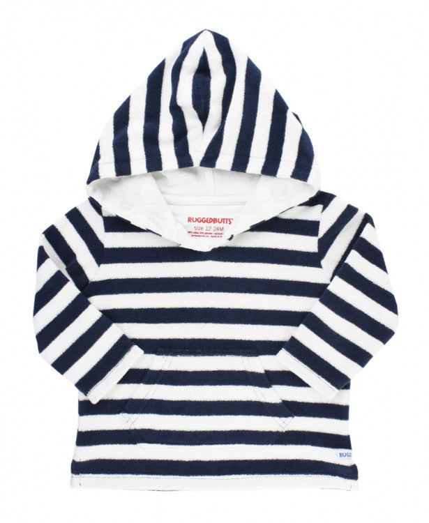 Navy Stripe Terry Hoodie Cover-Up