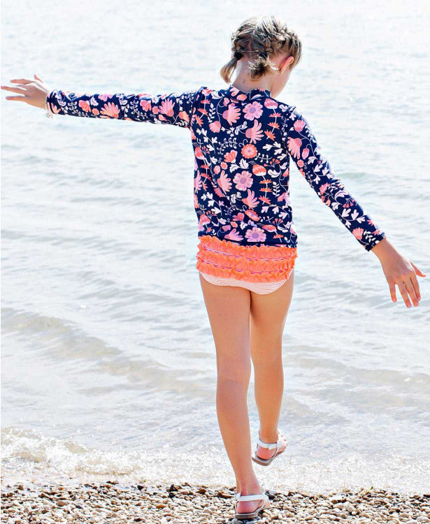 Botanical Garden Long Sleeve Zipper Rash Guard Bikini