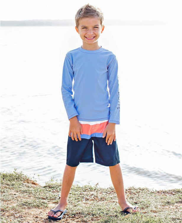 Coral & Blue Color Block Swim Trunks