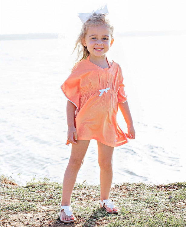 Coral Kaftan Pom Pom Cover-Up