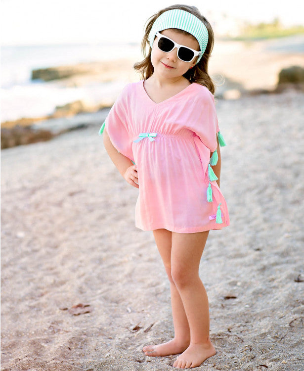 Pink Tassel Kaftan Cover-Up