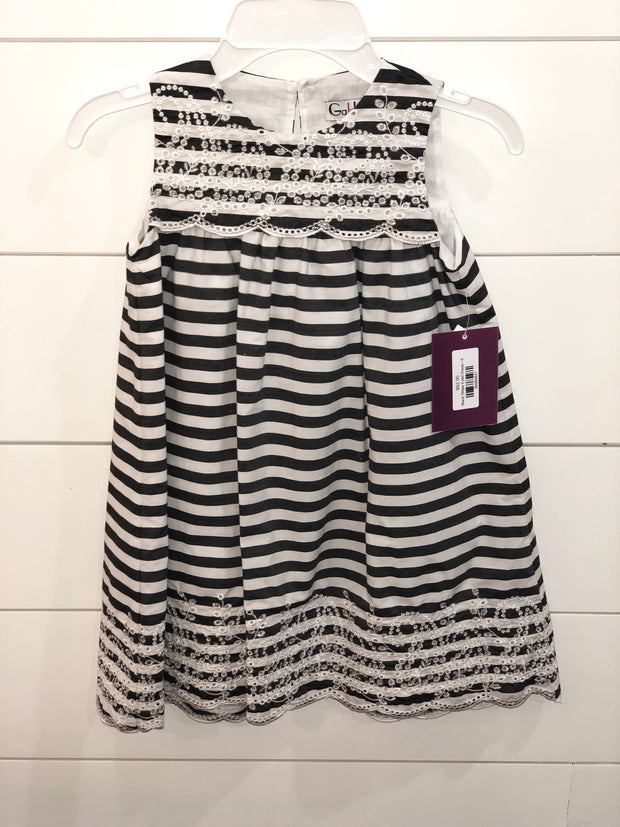 Black Stripe Eylet Dress