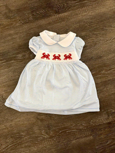 Classic Crab Smocked Collared Dress Set