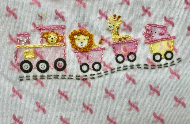 Animal Train Embroidered Pink Dress Set