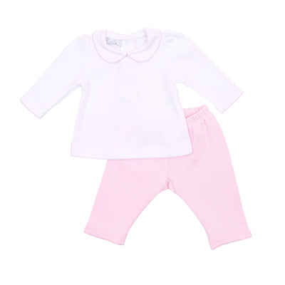 Abby and Adams Classic Pink Collard Pant Set