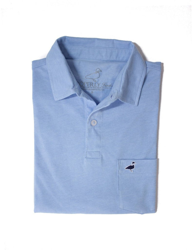 Lil' Duckling Pocket Polo - Heathered Blue