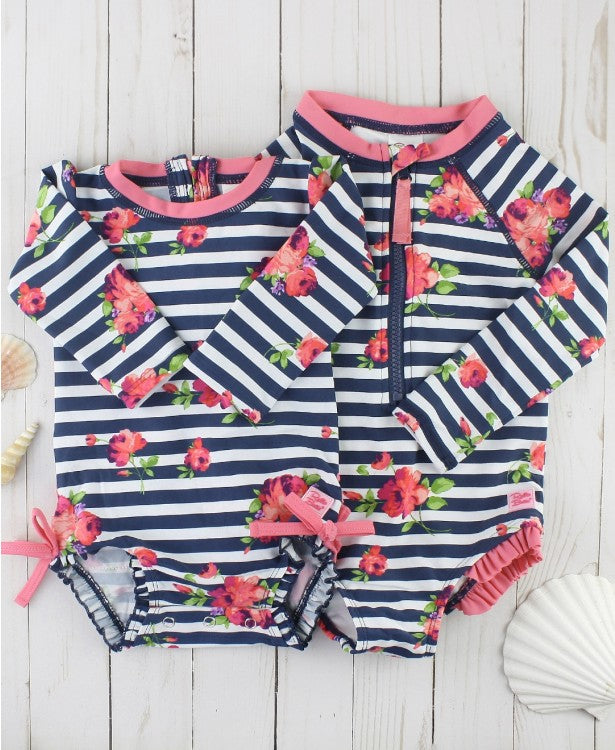 Rosy Floral Stripe Long Sleeve One Piece Rash Guard