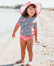 Rosy Floral Stripe Mid-Sleeve Rash Guard Bikini
