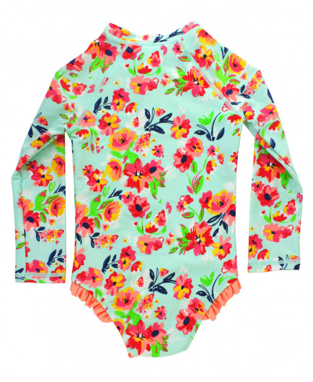 Girls' Painted Flowers Long Sleeve One Piece Rash Guard