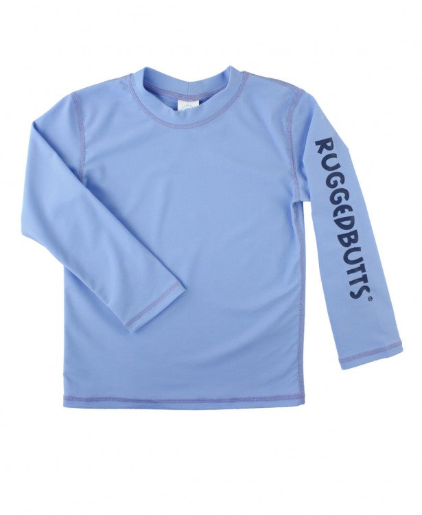Cornflower Blue Logo Long Sleeve Rash Guard