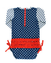 Navy Polka Dot One Piece Rash Guard