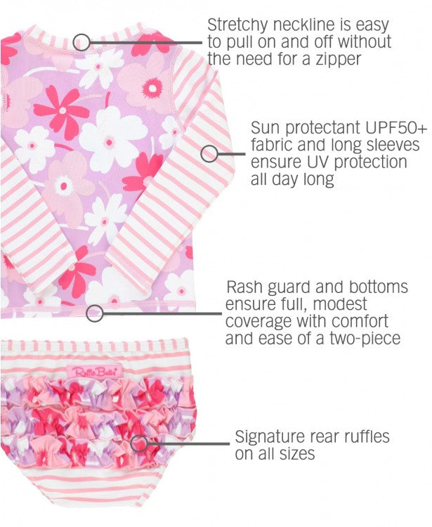 Happy Petals Long Sleeve Rash Guard Bikini