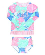 Pastel Petals Long Sleeve Rash Guard Bikini