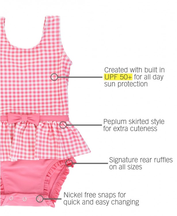 Rose Gingham Skirted One Piece