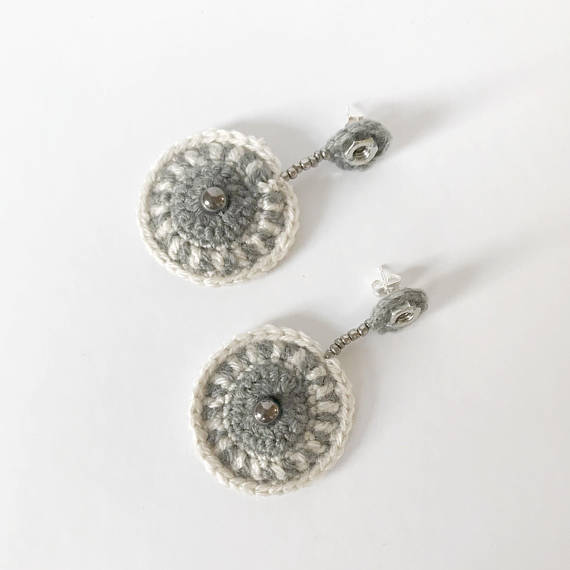 White & Gray Medallion Earrings