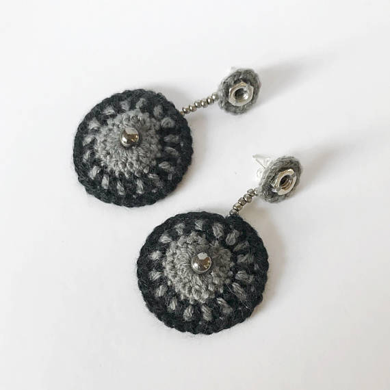 Black and Gray Medallion Earrings