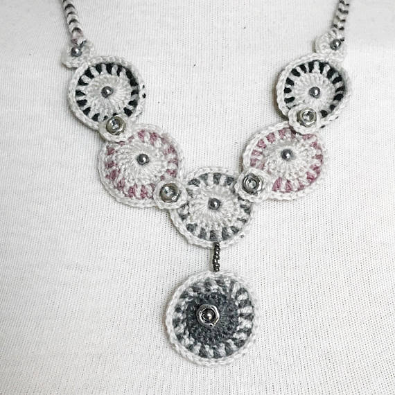 Silver Medallion Pink Crochet Necklace