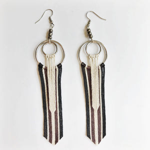 Earthly Brown Silver Tassel Earrings