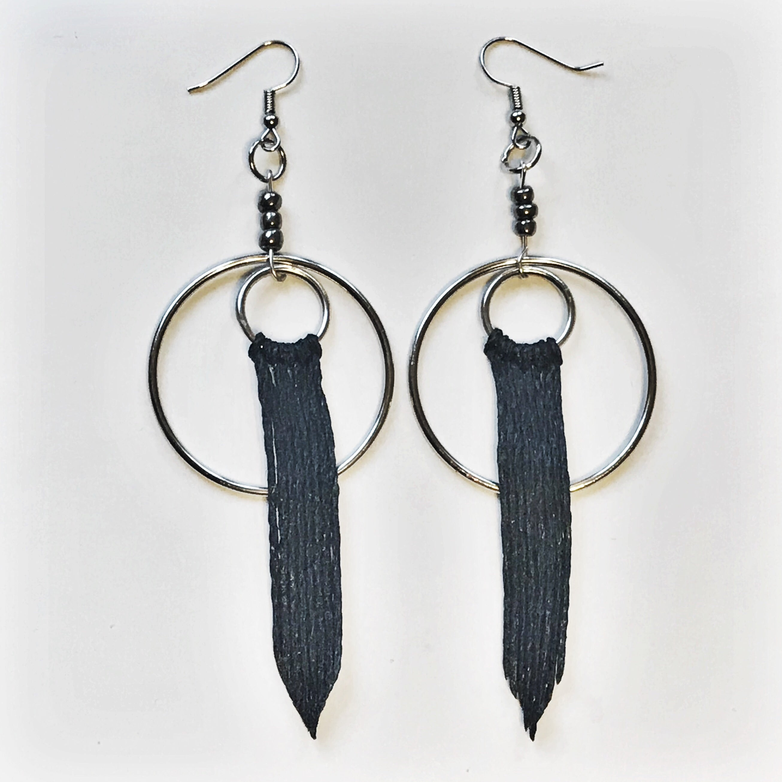 The Black Minimalist Tassel Earrings