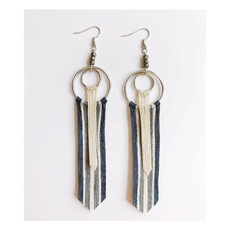 Blue Silver Tassel Earrings