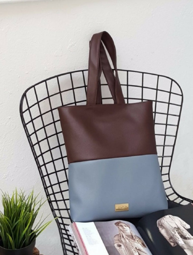 VILMA Color-block Minimalist Tote | Vegan Ethical Fashion at AllBellaVita