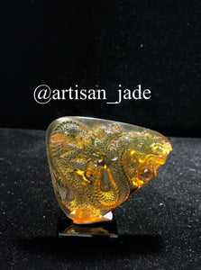 2D Amber Dragon - (Chiapas, Mexico) with Spider Inclusion
