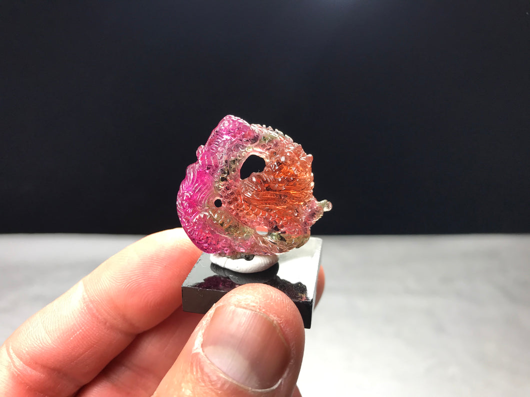 Multi-Color Tourmaline 3D Dragon