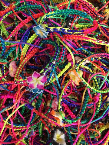 7 x Mixed Colour Fragipani Bracelets
