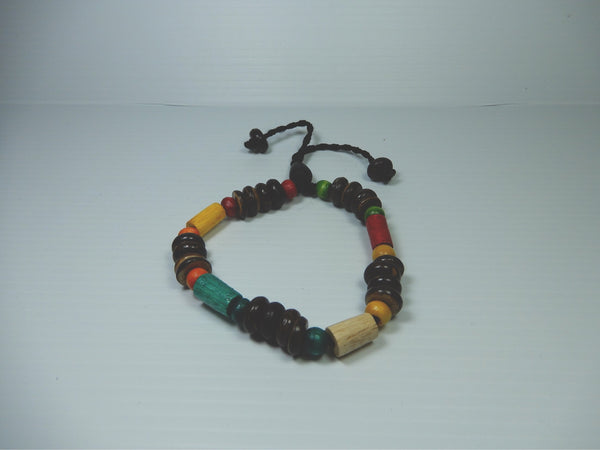 7 x Wooden & Coloured Bead Bracelets