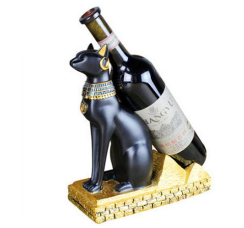 Egyptian Cat Sphinx Goddess Wine Bottle Holder Rack