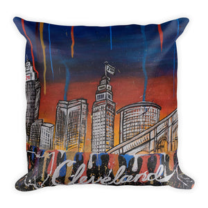 Cleveland Drip Print Original Lotus Art Square Pillow Decor