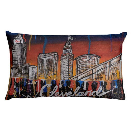 Cleveland Drip Print Lotus Art Rectangular Pillow Decor