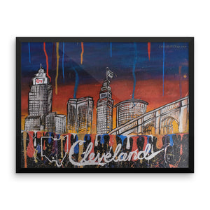 Framed Cleveland Drip Original Lotus Art Poster
