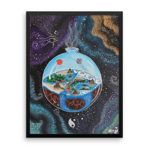 Framed Flat Balanced Earth Original Lotus Art Poster