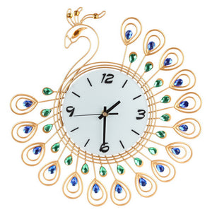 Metal Peacock Wall Clock