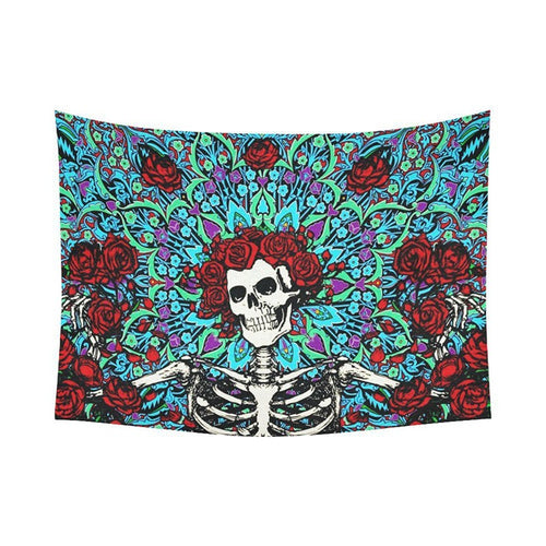 Rose Sugar Skull Tapestry Home or Dorm Room Decor