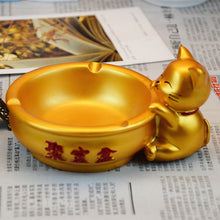 Gold Lucky Cat Ash Tray Decor