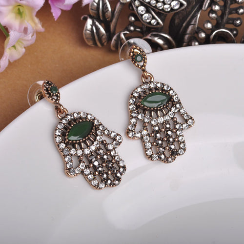 Antique Hamsa Eye Palm Hand Crystal Earrings
