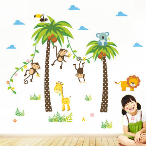 Baby Jungle Forest Animals Kids Nursery Room Wall Decal Sticker