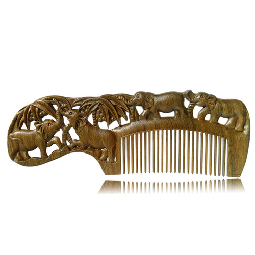 Handmade Natural Wooden Beard or Hair Comb Elephant Jungle Sculpture