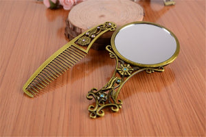 Kids Play Vanity Set with Vintage Style Mirror & Hair Comb ; Girls Room Decor