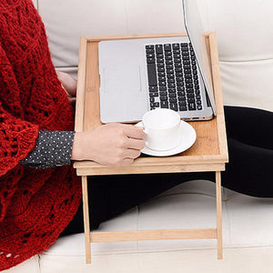 Foldable Laptop Cooling Wooden Bamboo Breakfast in Bed Serving Tray Table Stand Desk