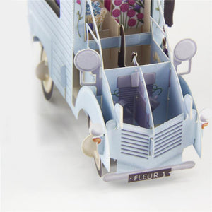 3D Pop Up Flower Van Card ; Floral Truck Car Holiday, Birthday or Thank You Card