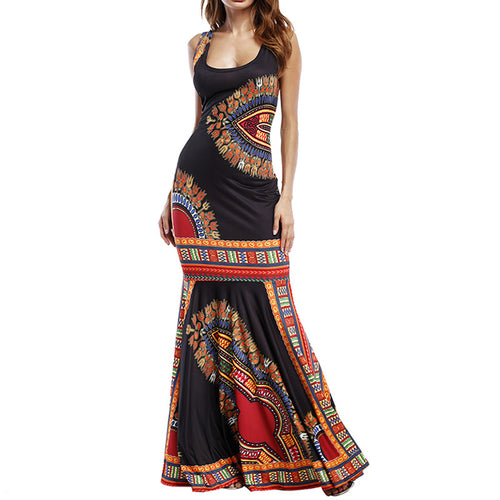 Womens Dashiki Print Party Sundress