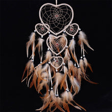 Native American Style Heart Shape DreamCatcher Decor Hanging Feathers ; Organic Room Decor