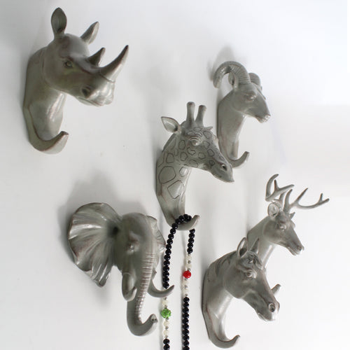 Animal Head Wall Hanging Hooks Decor ; Keys, Purse, Jewelry, Clothes