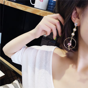 Asymmetry Elegant Flamingo Earrings